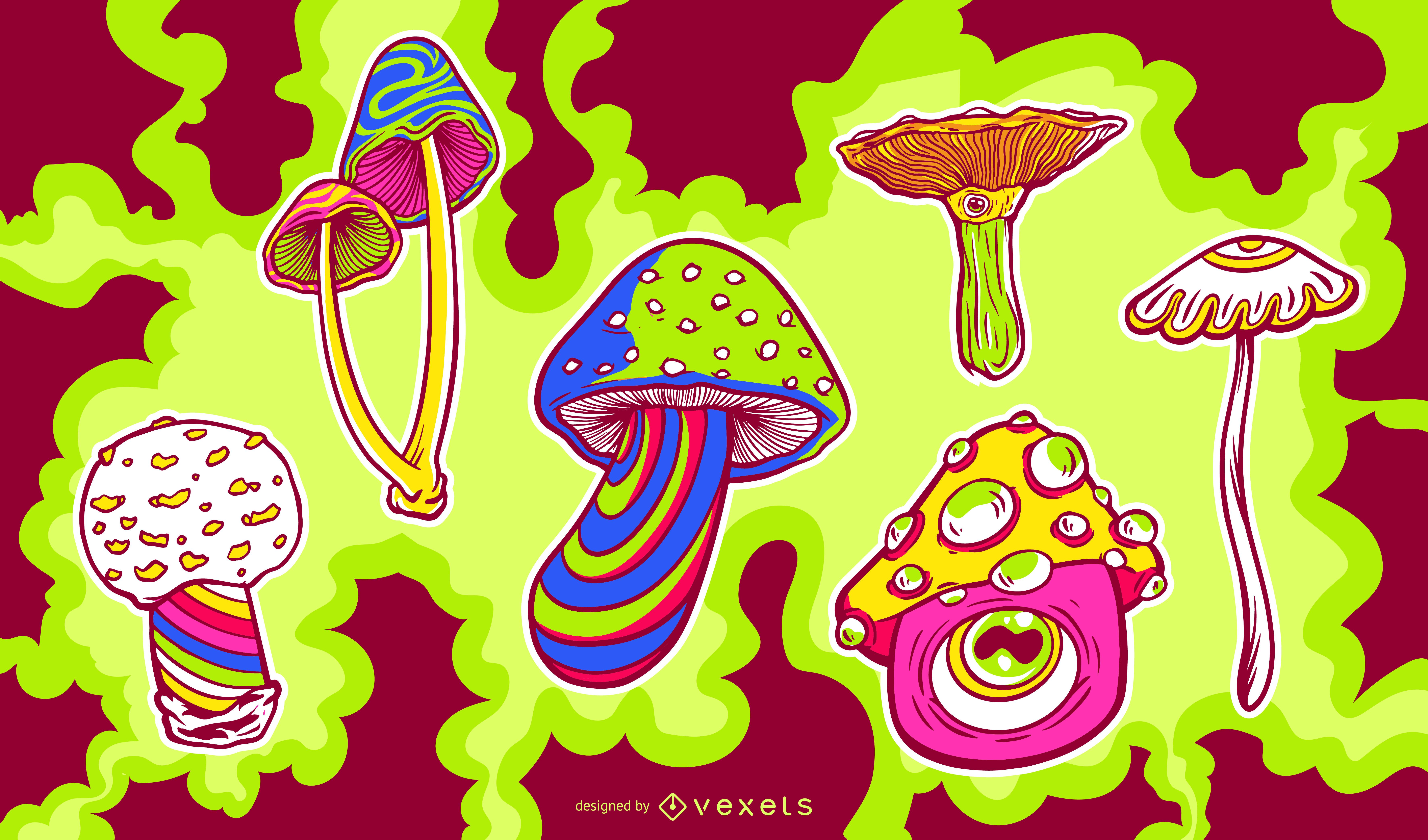 Trippy mushroom psychedelic set
