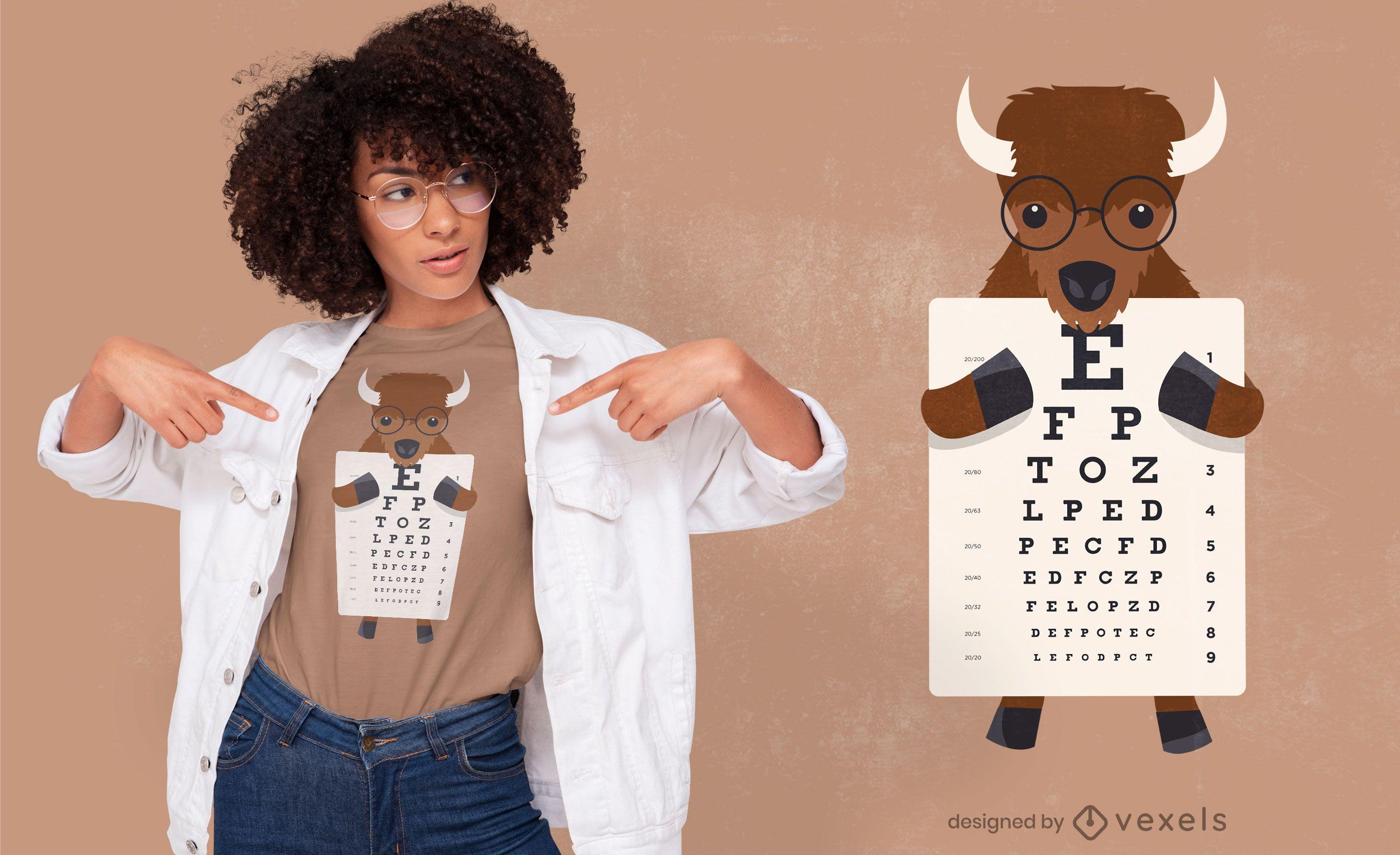 Bisonte con diseño de camiseta de gráfico optométrico