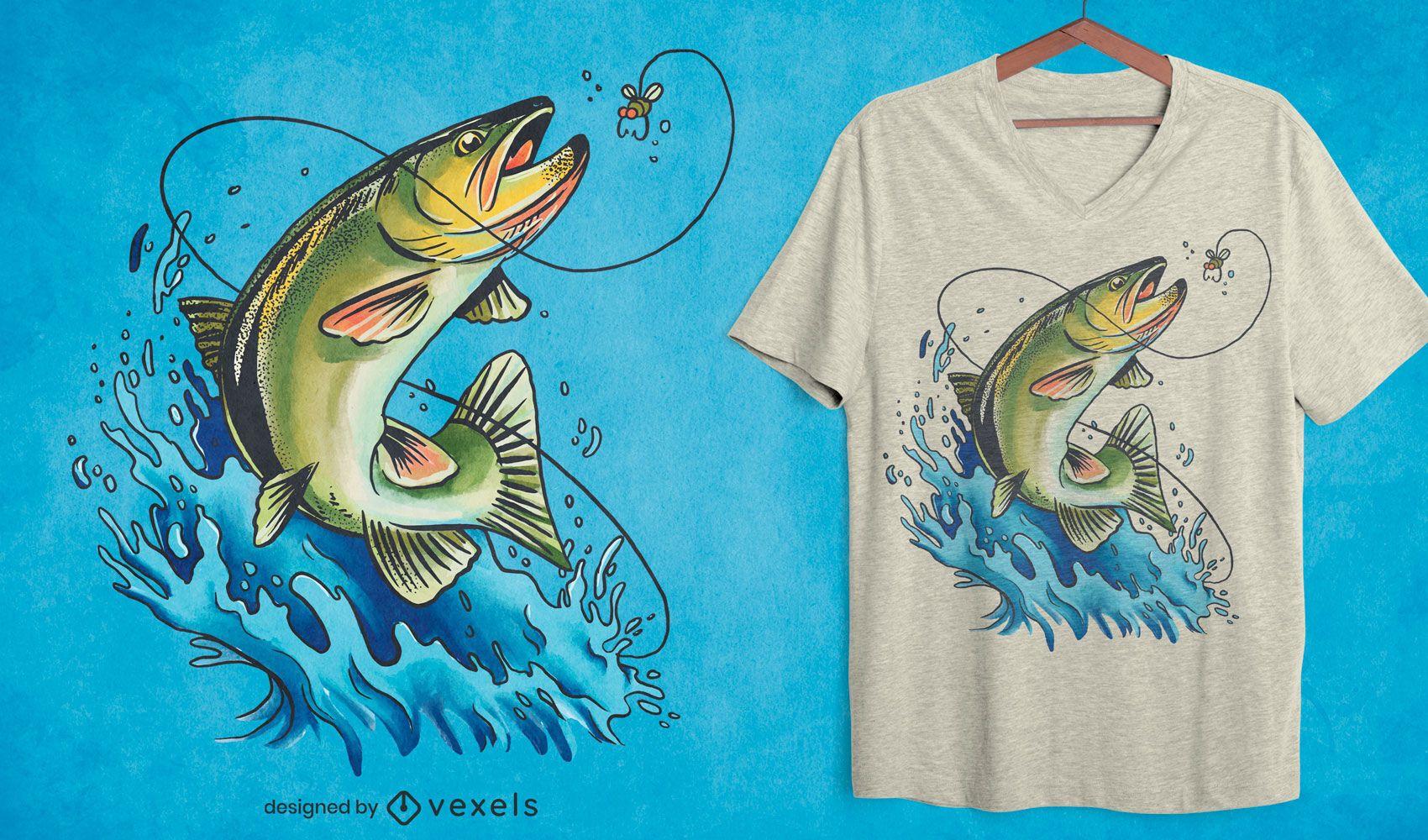Diseño de camiseta de ilustración de pesca de lubina