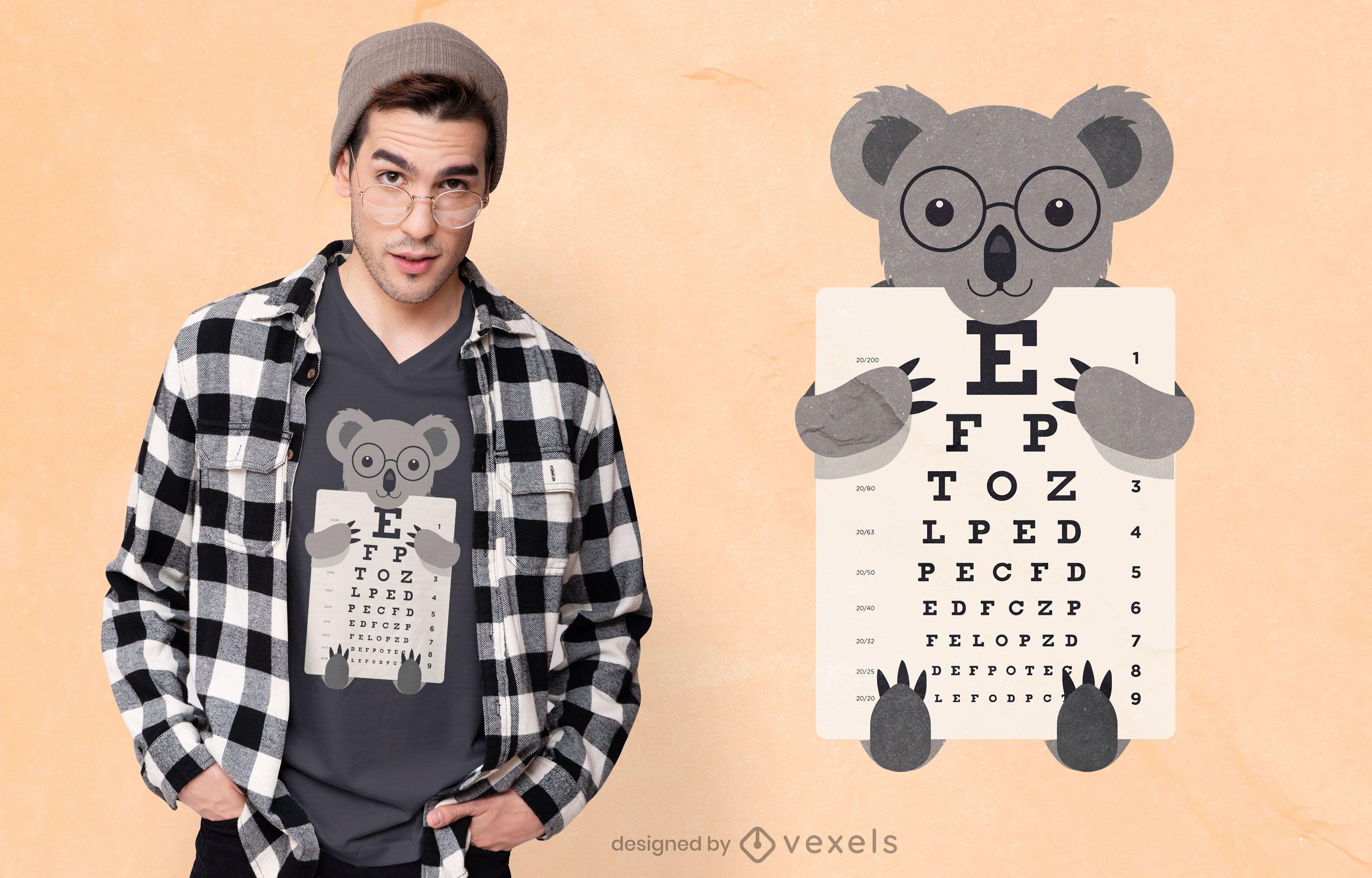 Koala holding eye chart t-shirt design