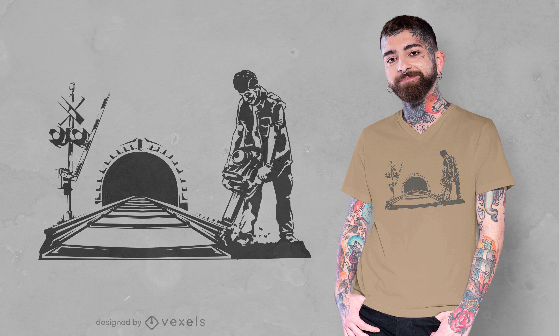 Diseño de camiseta de silueta de constructor de pistas