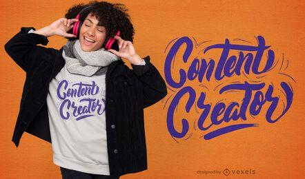 Diseño de camiseta con letras de creador de contenido.