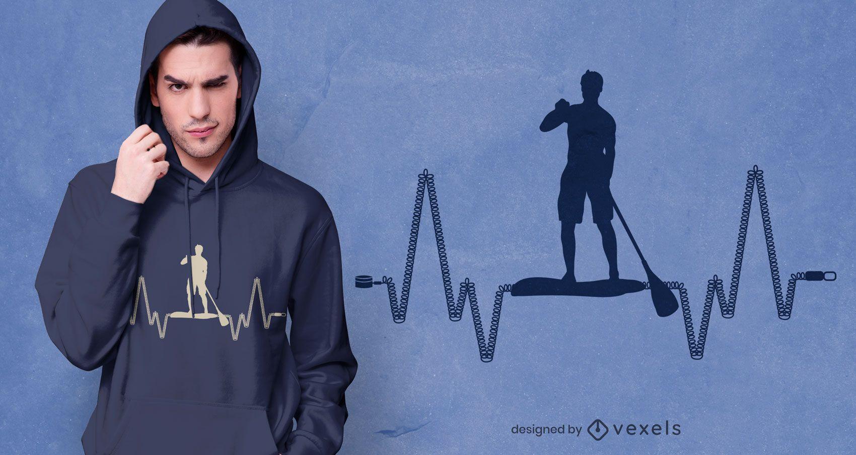 Paddleboard heartbeat t-shirt design