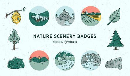 Conjunto de emblemas de paisagens naturais