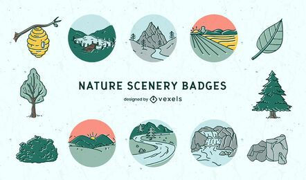 Nature landscape scenery badges set