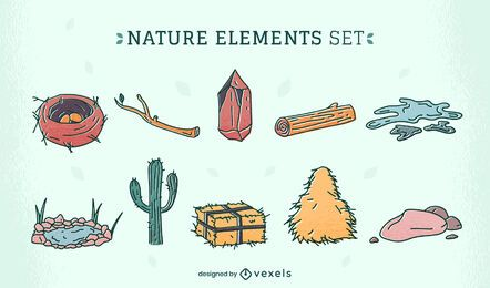 Conjunto de ilustración de elementos de desierto de naturaleza