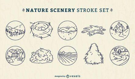 Conjunto de arte em linha de círculo de elementos da natureza