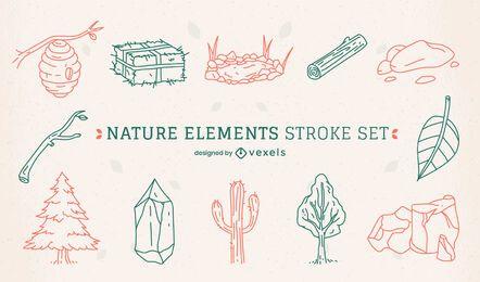 Conjunto de arte de línea de elementos del desierto de la naturaleza