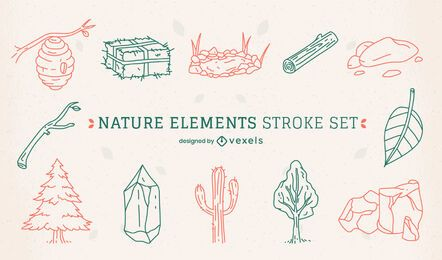 Nature desert elements line art set