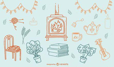 Cozy home elements hygge doodle set