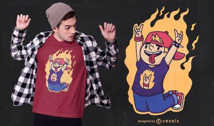 Design de t-shirt Kid rock n roll em chamas