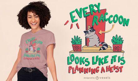 Projeto de camiseta engraçada de desenho de guaxinim