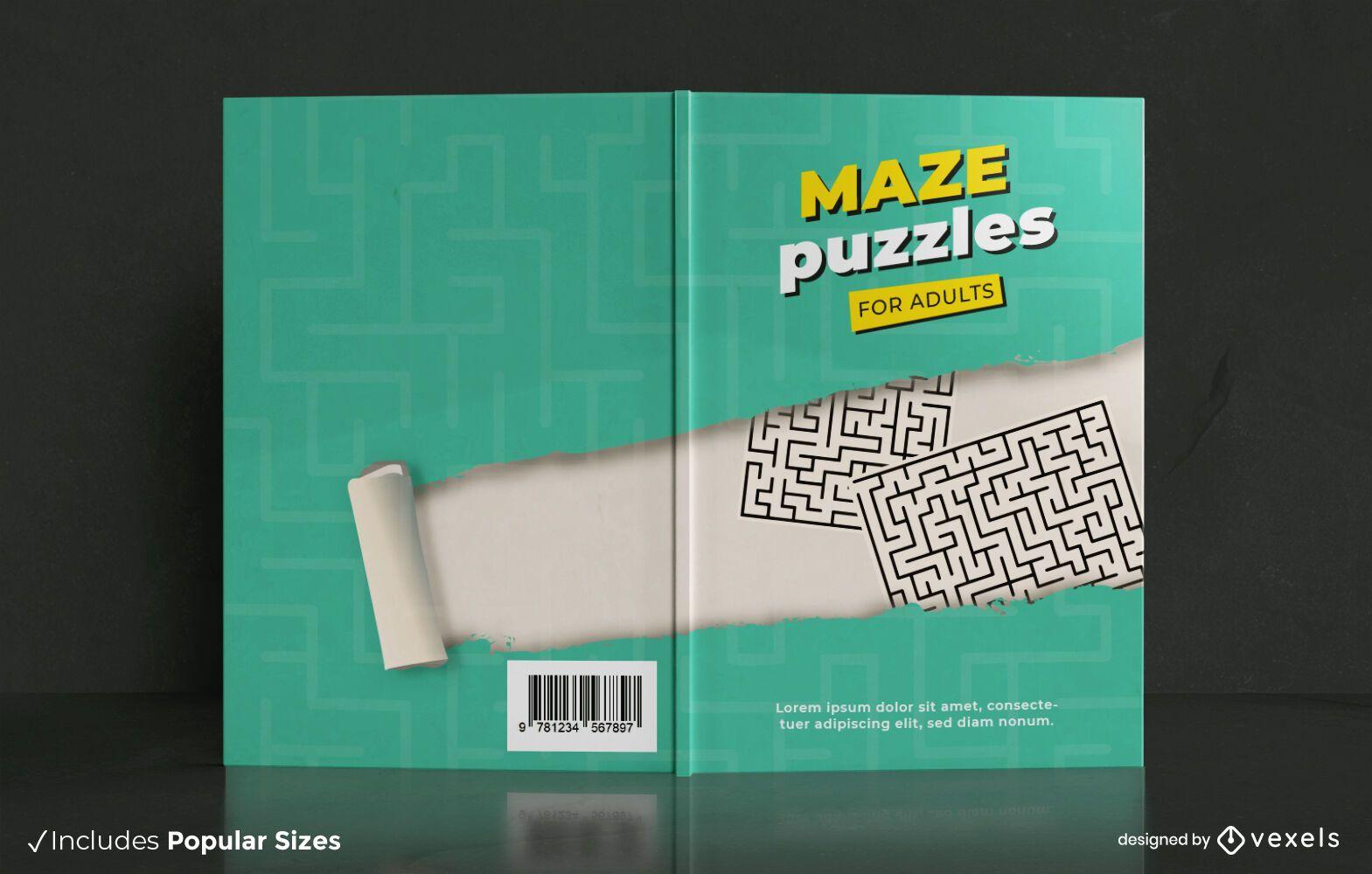 Labirinto quebra-cabeças design de capa de livro para adultos