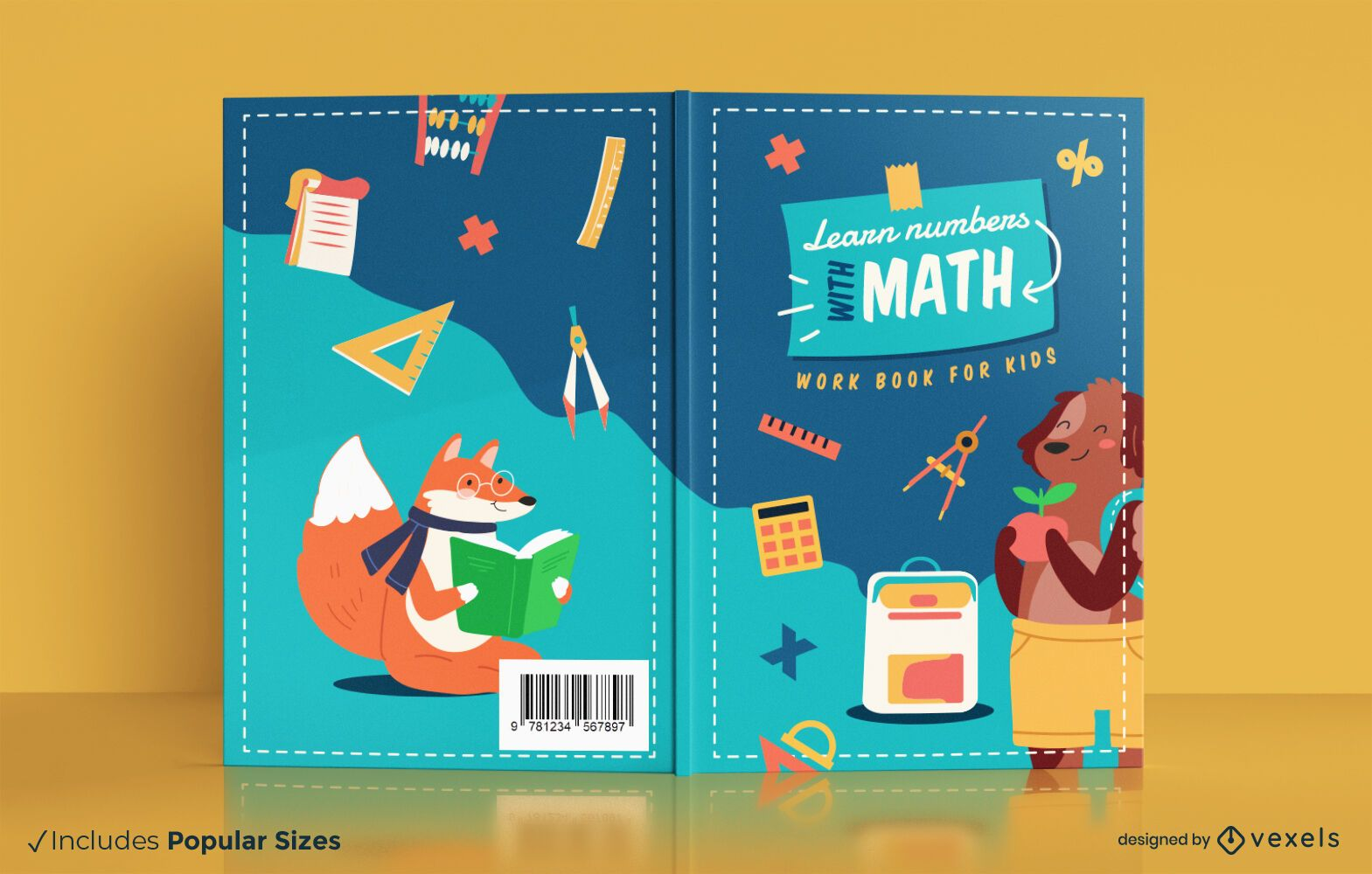 Livro de aprendizagem de matemática para design de capa infantil
