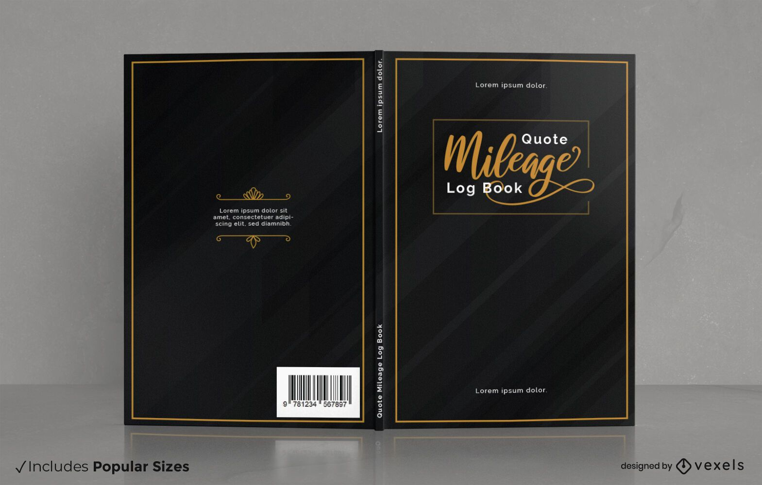 Diseño de portada de libro de registro de kilometraje empresarial