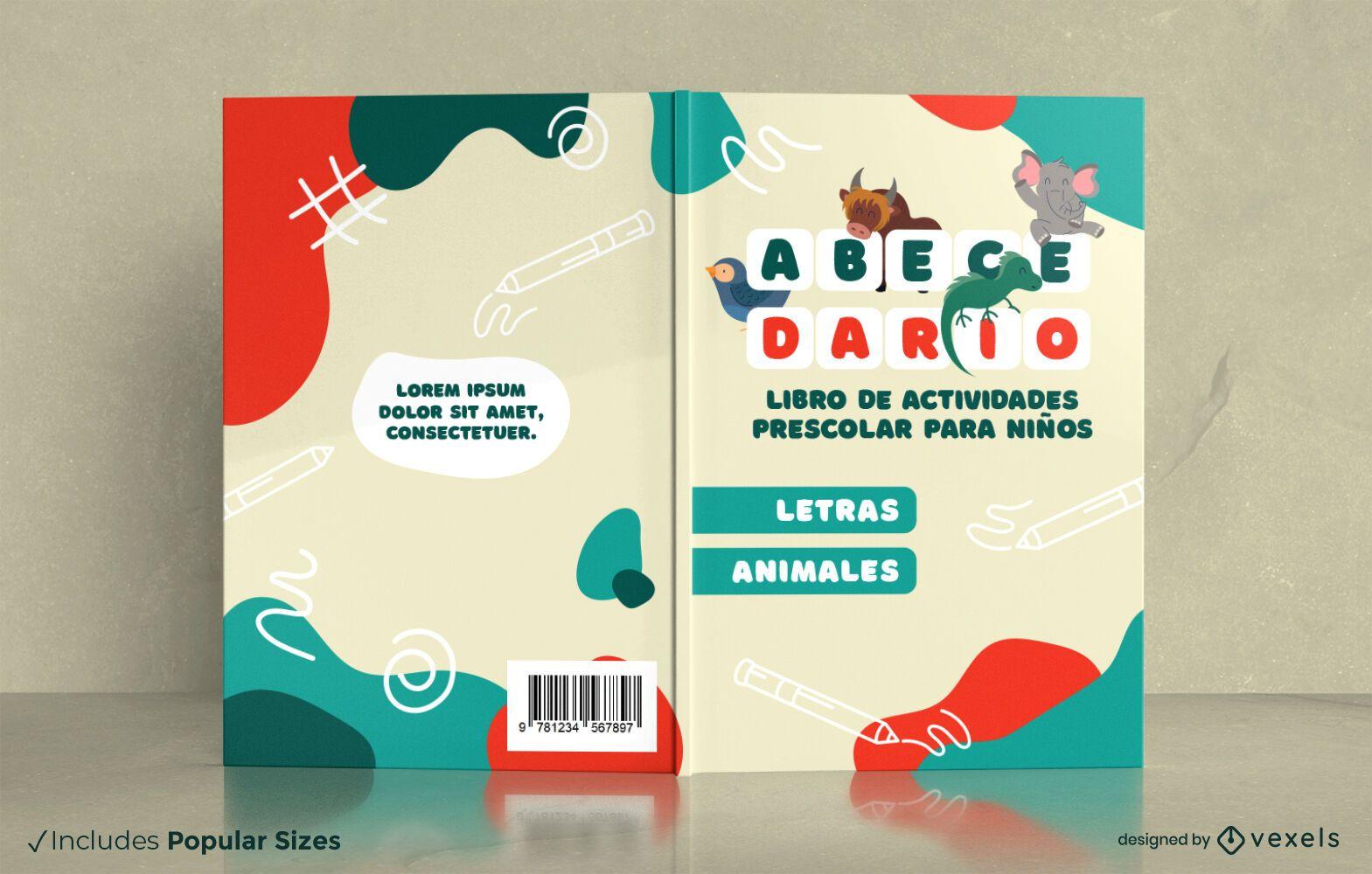 Libro de actividades para niños en edad preescolar diseño de portada.