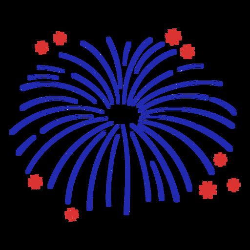 Blue fireworks simple stroke