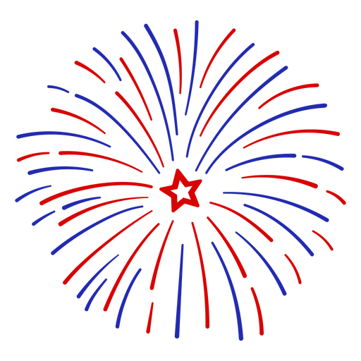 Circular red and blue firework stroke