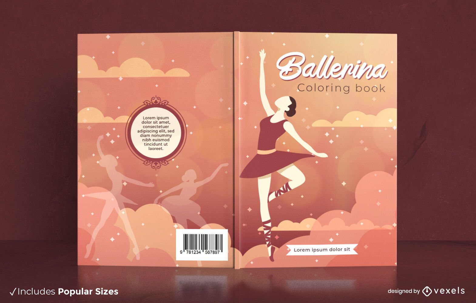 Coloring book ballerina dancer cover design