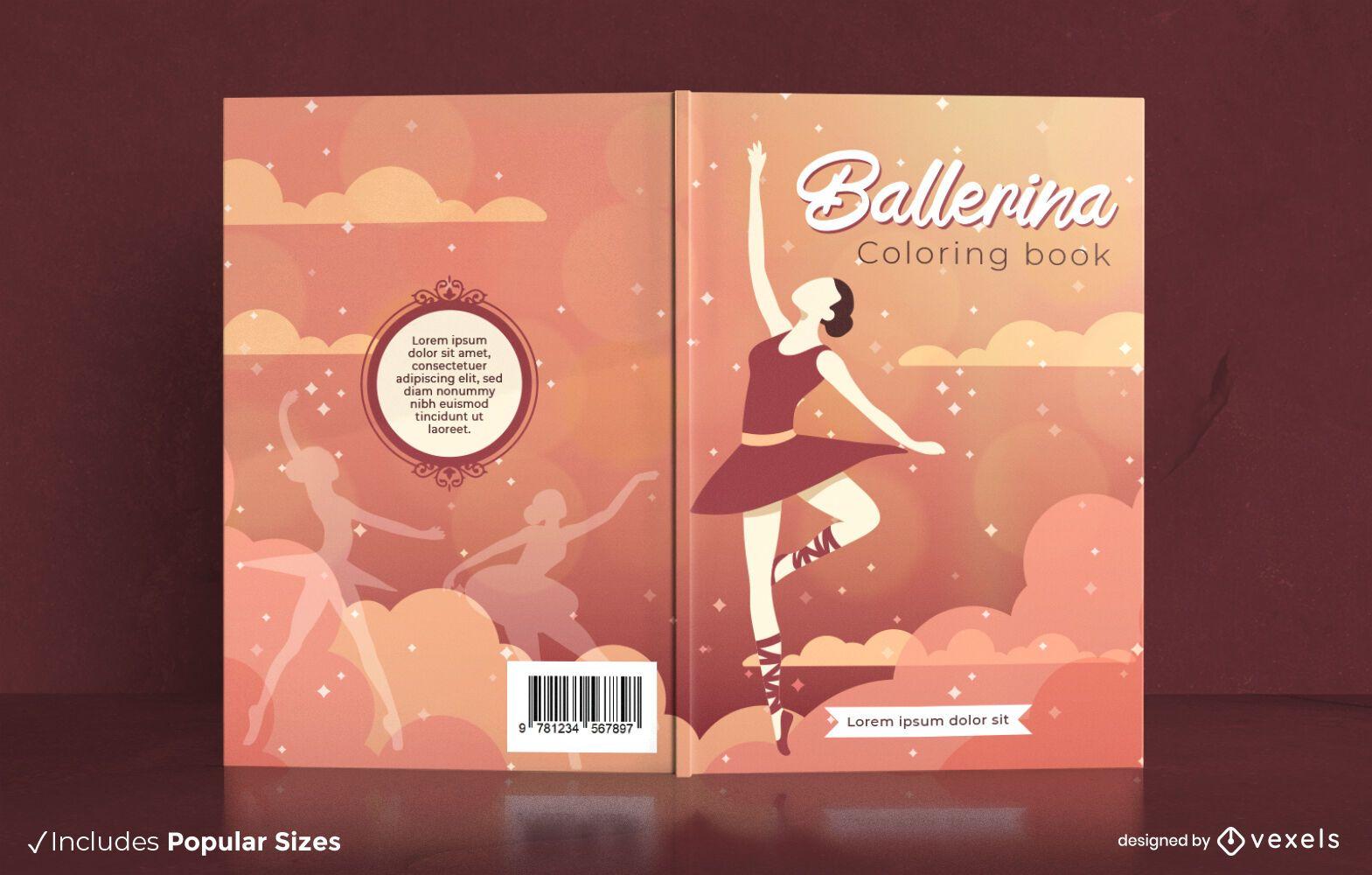 Dise?o de portada de bailarina bailarina de libro para colorear