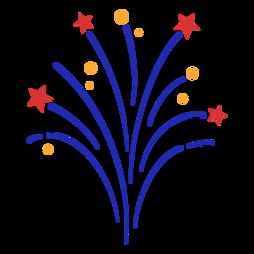 Simple fireworks stroke red stars