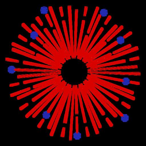 Circular red fireworks stroke