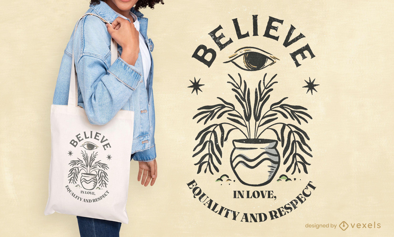 Bolsa de tela cita del día internacional de la paz