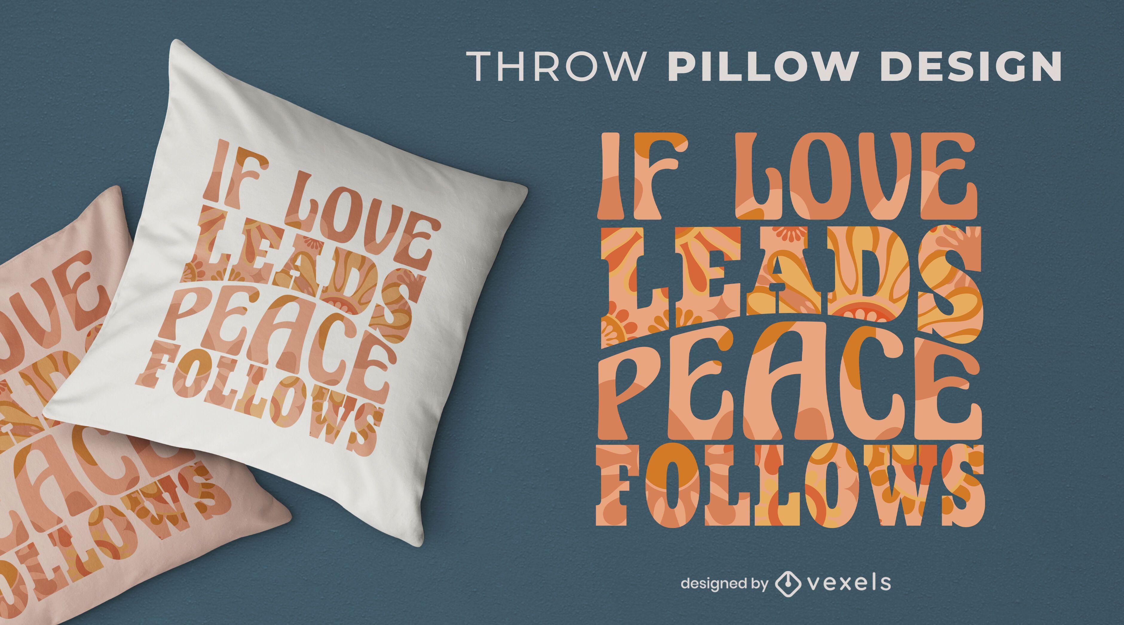 Design de travesseiro decorativo de citações para o dia da paz