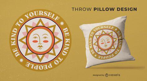 Almofada de decoração do dia da paz com ilustração do sol