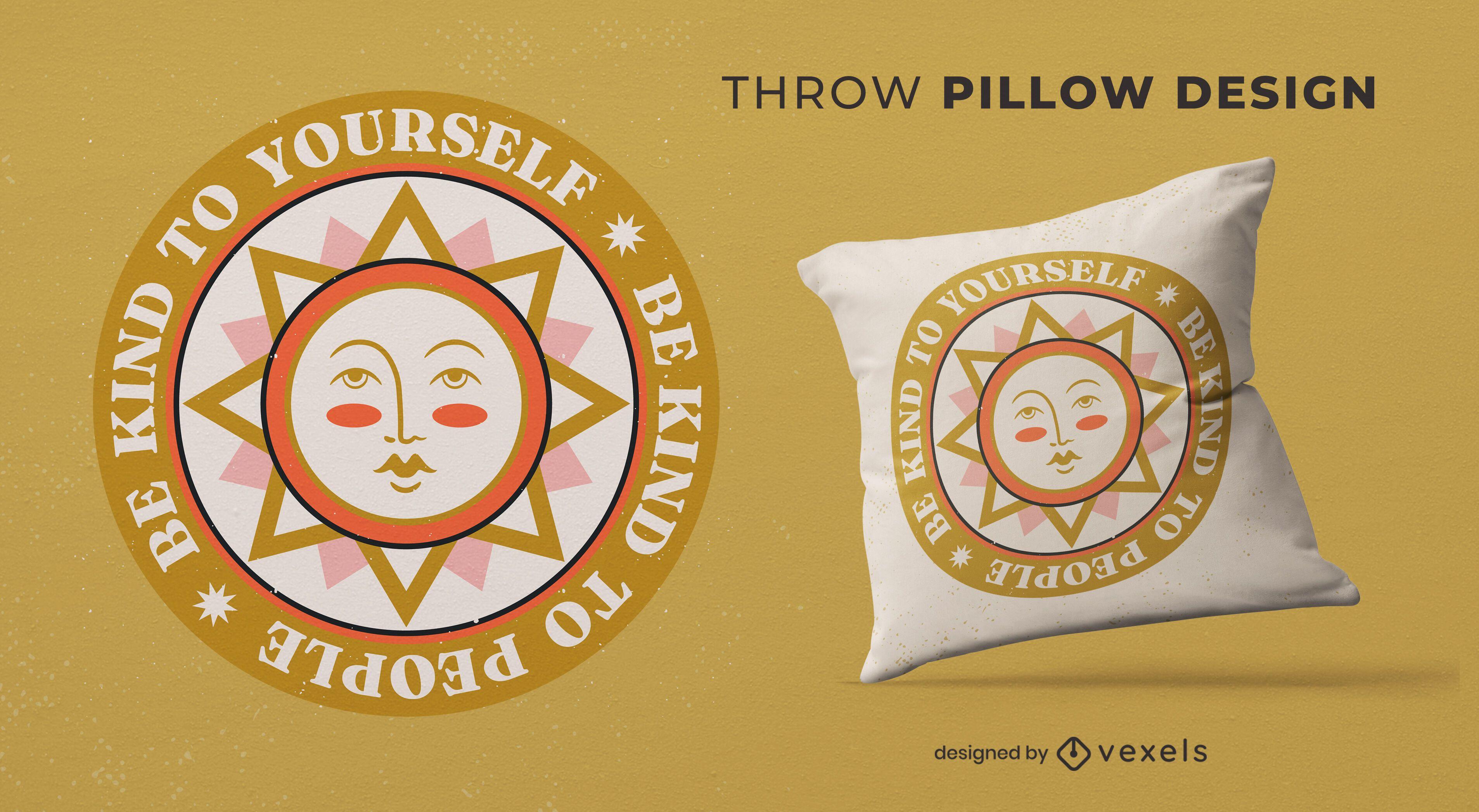 Sun illustration peace day throw pillow