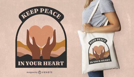 Diseño de la bolsa de asas de la cita del corazón del día de la paz