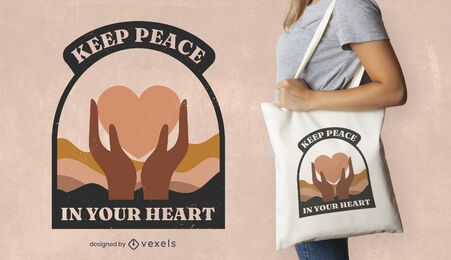 Peace day heart quote tote bag design