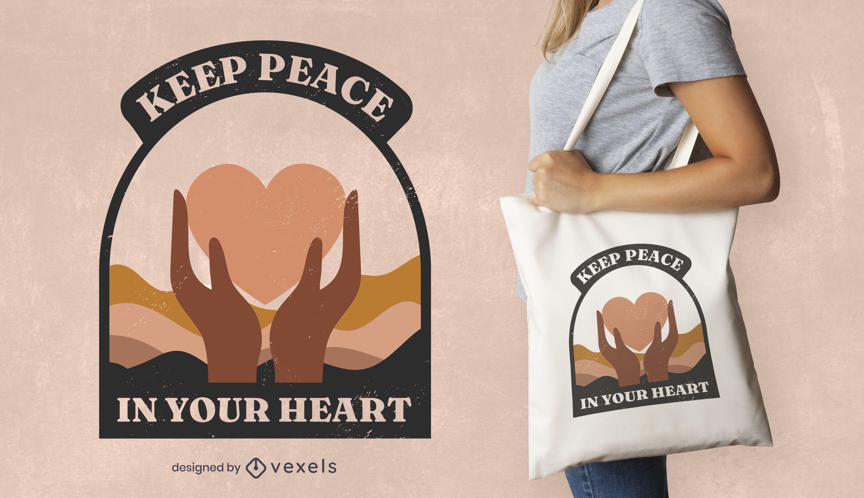 Design de sacola de citações de coração para Dia da Paz