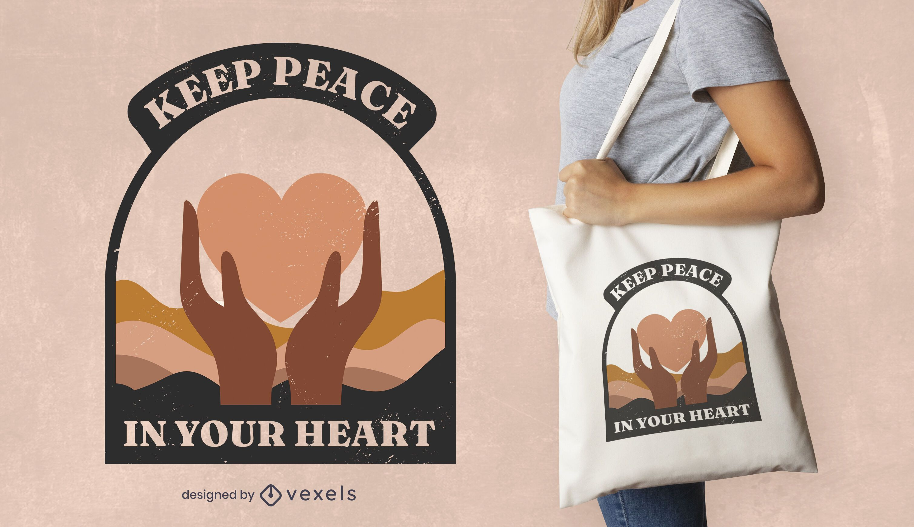 Peace day heart quote tote bag design