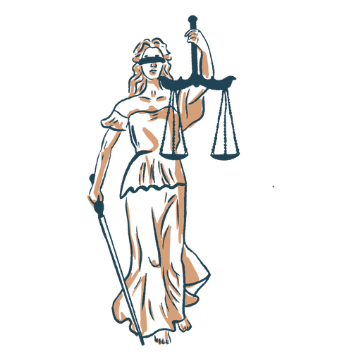 Justice woman with scale color stroke