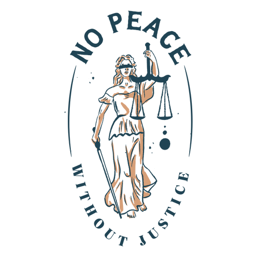 No peace without justice quote color stroke
