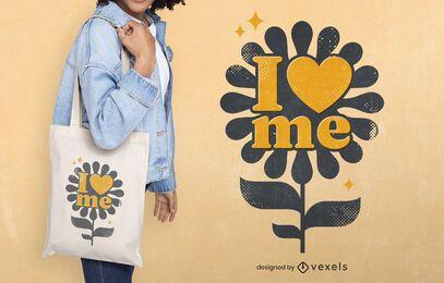 Design de sacola de flores de amor para o dia da paz