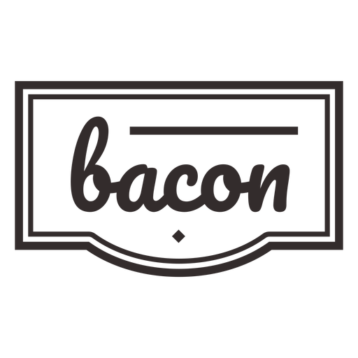 Bacon text lettering label stroke