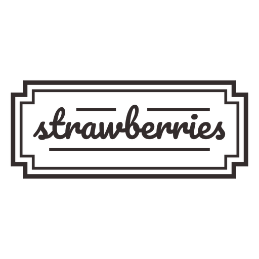 Strawberries text lettering label stroke