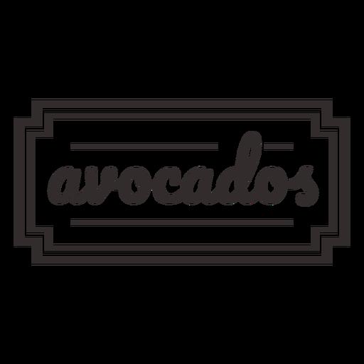 Avocados stroke text label