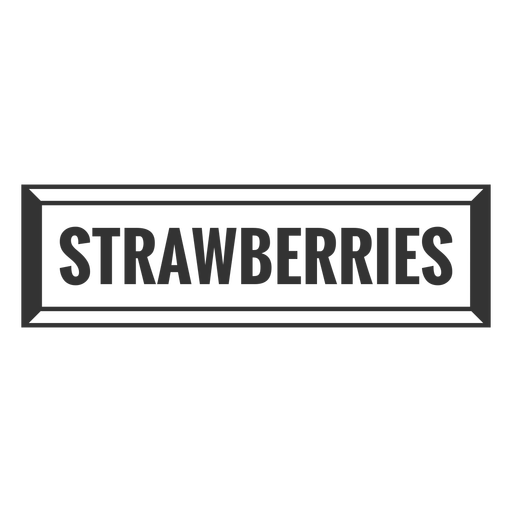 Strawberrries text label filled stroke