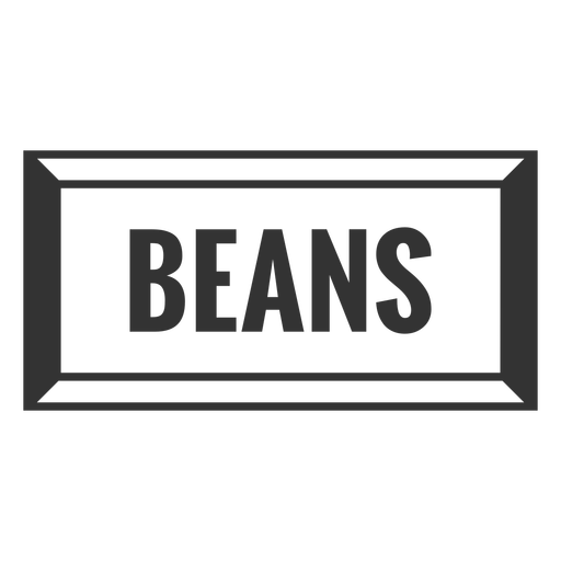 Beans text label filled stroke