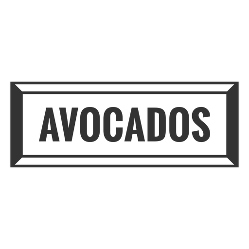 Avocados text label filled stroke