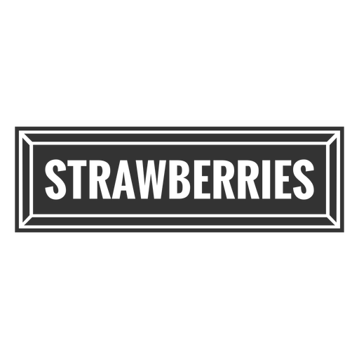 Strawberries text label cut out