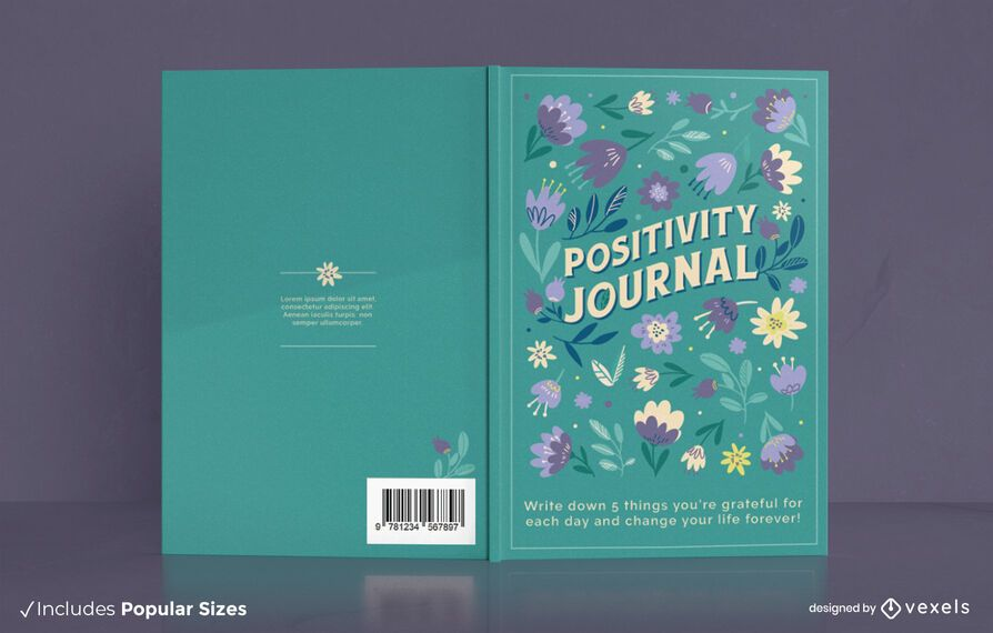 Positivity journal floral cover design