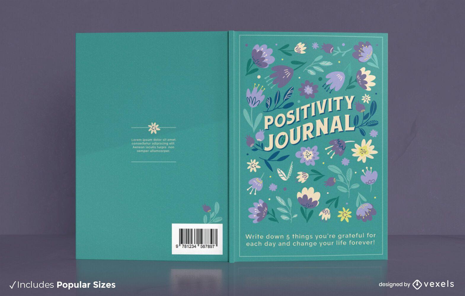 Diseño de portada floral de revista de positividad