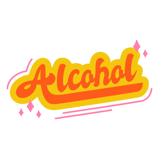 Alcohol text label lettering
