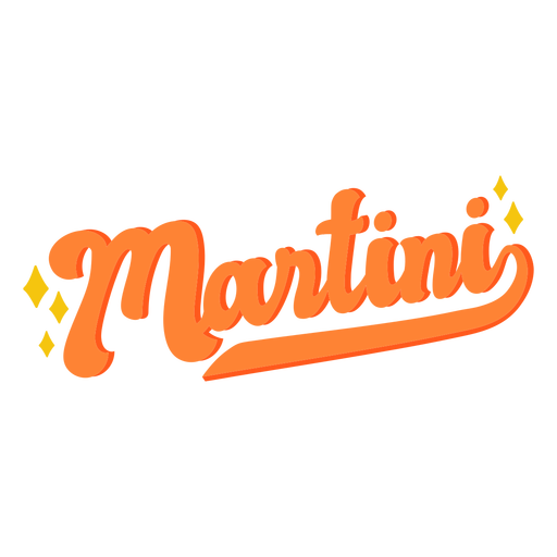 Martini text label lettering