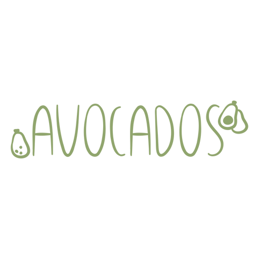 Avocados text doodle label