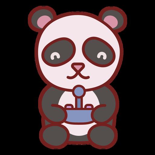 Cute baby panda bear gamer